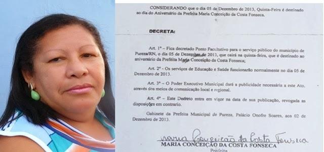Resultado de imagem para Maria da Conceição da Costa Fonseca prefeita de pureza